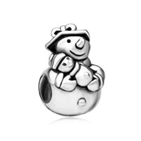 European Beads - unique snowman silver plated beads charms bracelets Image.