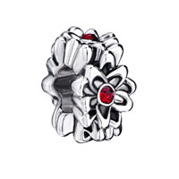 European Beads - garnet flower fit all brands silver plated beads charms bracelets Image.