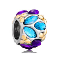European Beads - blue purple flower fit all brands two tone plated beads charms bracelets Image.