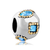 European Beads - square and drop with aquamarine march birthstone crystal all brands two tone plated beads charms bracelets Image.