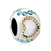 European Beads - 22k aquamarine crystal two tone plated beads charms bracelets Image.