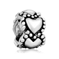 European Beads - heart circle love silver plated beads charms bracelets Image.