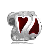 European Beads - double red heart shape love silver plated beads charms bracelets Image.