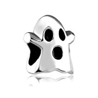 European Beads - hallowmas ghost silver plated beads charms bracelets Image.