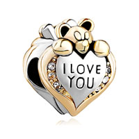 European Beads - heart shape with i love you and bear silver gold plated beads charms bracelets Image.