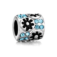 European Beads - flower with march crystal silver plated beads charms bracelets Image.