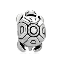 European Beads - tortoise shape silver plated beads charms bracelets Image.