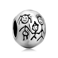 European Beads - ball shape with family silver plated beads charms bracelets Image.