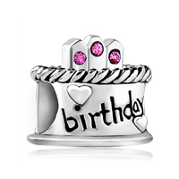 Sterling Silver Jewelry - 925 sterling silver birthday cake rose pink crystal all brand beads charms bracelets Image.