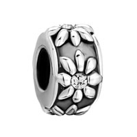  - apr birthstone clear white crystal diamond accent sunflower bead charm Image.