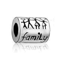 European Beads - happy family silver plated beads charms bracelets Image.
