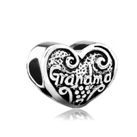 European Beads - heart love grandma fit all brands &  silver plated beads charms bracelets Image.