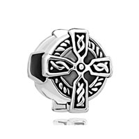 European Beads - round shape with cross silver plated beads charms bracelets Image.