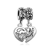 "European Beads - mother jewelry heart shape ""mother and daughter"" love dangle european beads all brands charms bracelets Image."