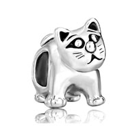 European Beads - cute cat classic silver plated beads charms bracelets Image.