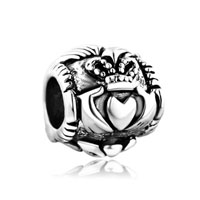 European Beads - claddagh silver plated beads charms bracelets Image.