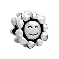 European Beads - smiley sun silver plated beads charms bracelets Image.