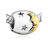 European Beads - starry moonlight night fit all brands silver plated beads charms bracelets Image.