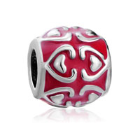 European Beads - red heart fit all brands silver plated beads charms bracelets Image.