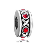 European Beads - red swarovski crystal hugs &  kisses xoxo spacer fit all brands silver plated beads charms bracelets Image.
