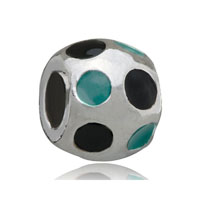 European Beads - ball with green round silver plated beads charms bracelets Image.