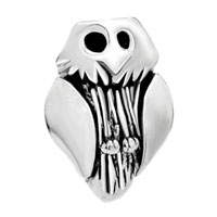 European Beads - owl shape silver plated beads charms bracelets Image.