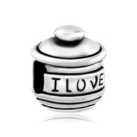 European Beads - love you hunny pot fit all brands silver plated beads charms bracelets Image.