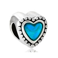 European Beads - beautiful blue enamel heart love silver plated beads charms bracelets Image.