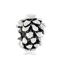 European Beads - pinecone silver plated beads charms bracelets Image.