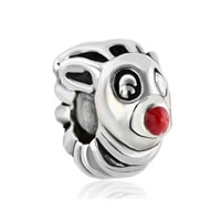 European Beads - red nose deer silver plated beads charms bracelets Image.