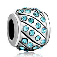 European Beads - round march birthstone silver plated beads charms bracelets Image.