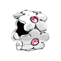 European Beads - rose pink crystal flowers circle all brand silver plated beads charms bracelets Image.