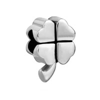 European Beads - four leaf clover silver plated beads charms bracelets Image.