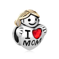 European Beads - 22k cute girl holding heart i love mom two tone plated beads charms bracelets Image.