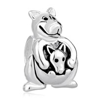 European Beads - cute kangaroo carrying baby silver plated beads charms bracelets Image.