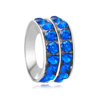 European Beads - round sapphire rhinestone crystal blue fit all brands beads charms bracelets Image.