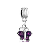 DPC_HD04_X02: february birthstone amethyst butterfly dangle european beads all brands charms bracelets Image.