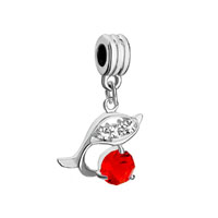 - jul birthstone light red crystal diamond accent dolphin bead charm all brand bracelet Image.