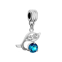 European Beads - fish december birthstone blue zircon fit all brands dangle european beads charms bracelets Image.