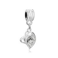 European Beads - classic april birthstone heart love dangle european beads all brands charms bracelets Image.