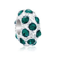 European Beads - may birthstone emerald green crystal diamond accent clear white ball beads charms bracelets Image.