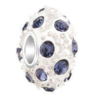 European Beads - jun birthstone alexandrite amethyst crystal diamond accent clear white ball beads charms bracelets Image.