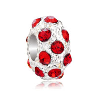 European Beads - july birthstone light red crystal white ball all brand beads charms bracelets Image.