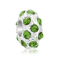 European Beads - aug birthstone peridot green crystal diamond accent clear white ball silver plated beads charms bracelets Image.