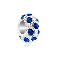 European Beads - sep birthstone sapphire blue crystal diamond accent clear white ball silver plated beads charms bracelets Image.
