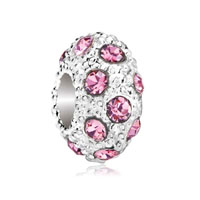 European Beads - oct birthstone rose pink crystal diamond accent clear white ball beads charms bracelets Image.