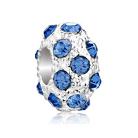  - dec birthstone blue topaz crystal diamond accent clear white ball bead charm Image.