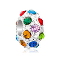 European Beads - multi color crystal diamond accent clear white ball all brand beads charms bracelets Image.