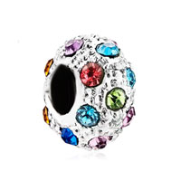 European Beads - fashion multi color crystal two tone plated beads charms bracelets Image.