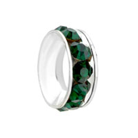 European Beads - may birthstone emerald green crystal all brand silver plated beads charms bracelets Image.